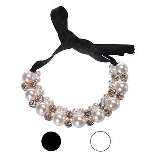 Stylish Bar 45cm maxi necklace Women Double Row Adjustable Band Chain Rhinestone Necklace Pearl gift Vintage Jewelry