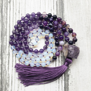 Image 1 - Mala Yoga Jewelry For Women Raw Amethysts Pendant With Purple Tassel Necklace Hand Knotted Rough Stone Necklace For Women Femme
