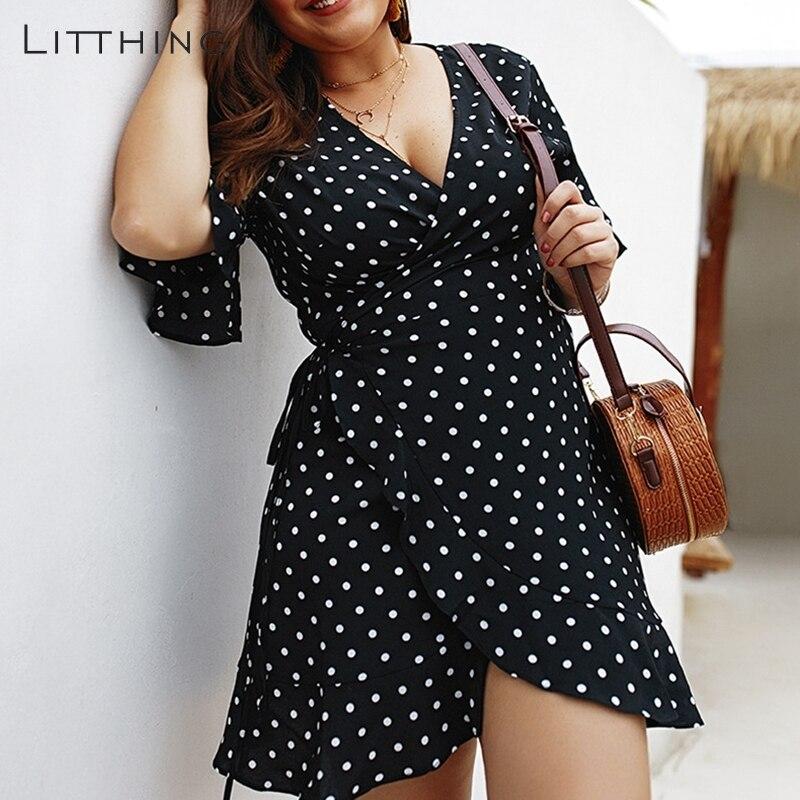 0cb5a8dc674 LITTHING новый для женщин 4XL Плюс мини платье Лето горошек печати большой размеры  женские платья для