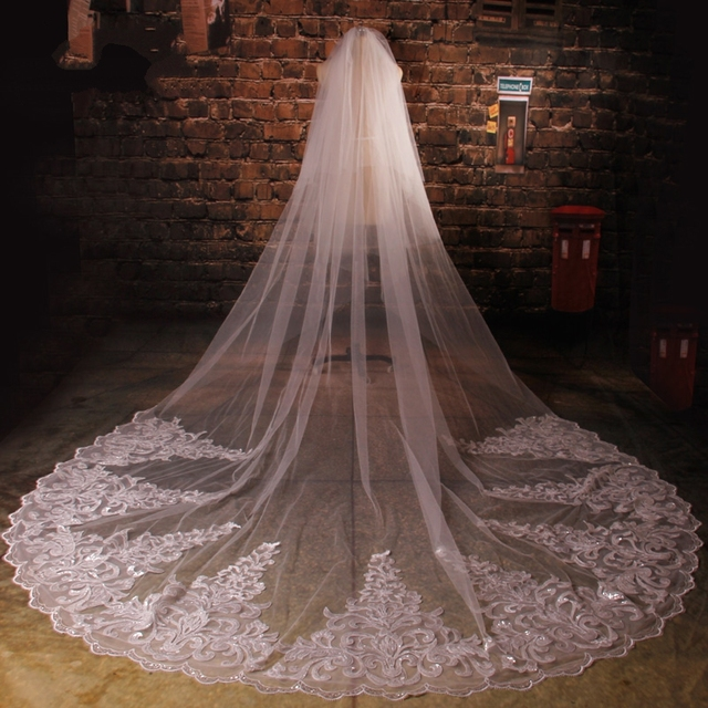 Newest Tulle Cathedral length Lace Appliques Sequins Beaded Wedding Veils Two Layers voile mariage birdcage veil for Bride