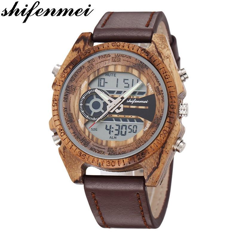 Men Wooden Watches Relogio Feminino Digital And Quartz Wristwatch Timepieces Dual Display Watch luxury Top Masculino OrologioQuartz Watches   -