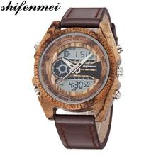 Men Wooden Watches Relogio Feminino Digital And Quartz Wristwatch Timepieces Dual Display Watch luxury Top Masculino Orologio