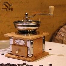 TTLIFE Retro ahşap manuel kahve değirmeni paslanmaz çelik kolu seramik çekirdek kahve baharat değirmeni
