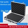 Box aluminium tool case 345*245*75 MM tool en bestand opslag Hard carry gereedschapskist Hand Gun vergrendeling Pistool met schuim voering