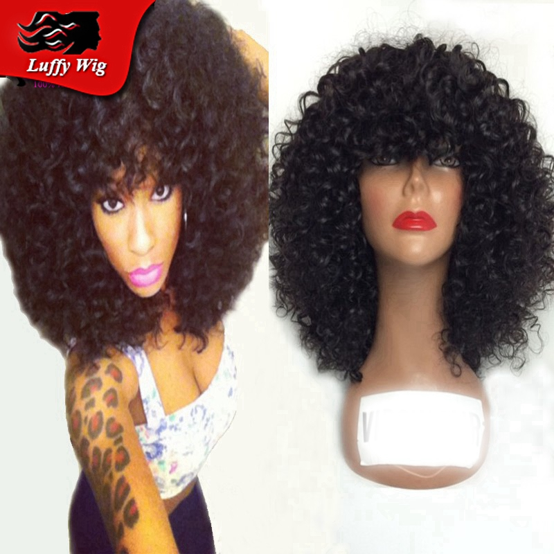 Fashion short curly lace front human hair wigs with bangs 100% unprocessed  virgin brazilian curly bob wigs for black women 1462f7b056