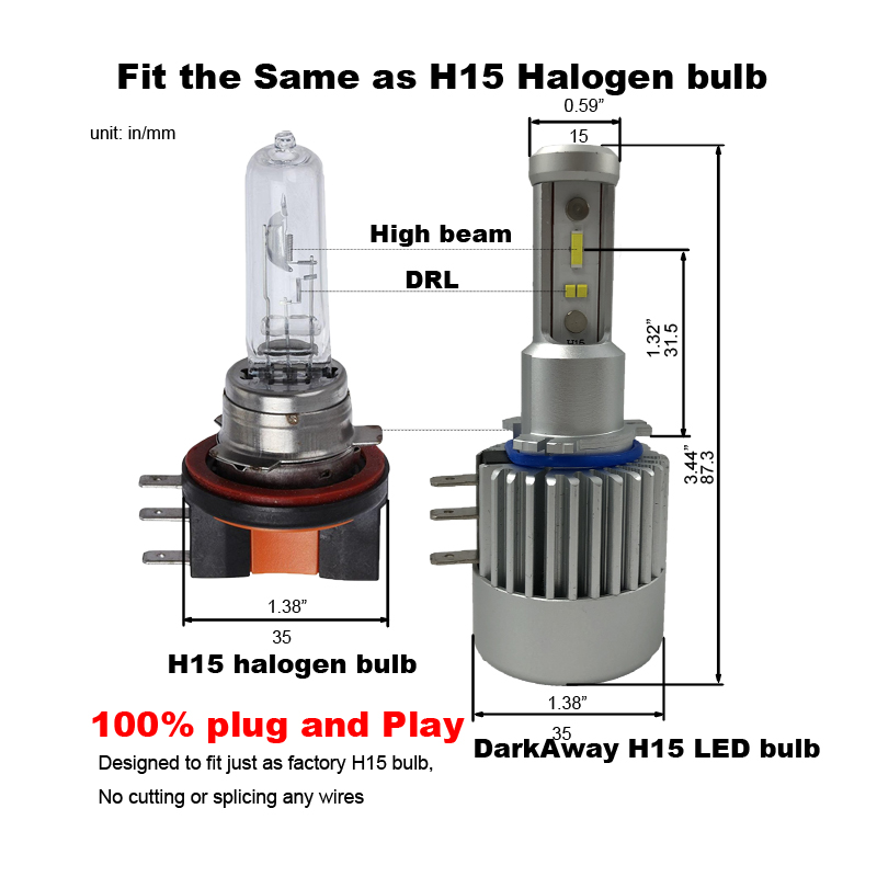 Image 5 - DarkAway H15 LED Bulb 60W 8000LM/set Car Headlight High Beam Lamp Canbus Error Free For Golf MLK 12V White-in Car Headlight Bulbs(LED) from Automobiles & Motorcycles