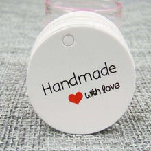 500pcs 3mm round white custom label tags hand made with love tag for gift box and