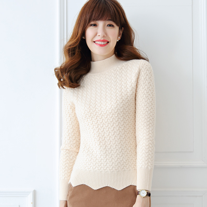17 new thick sweater women 100% cashmere sweater high collar long sleeves flanging female winter warm pullover 2018 autumn winter cashmer sweater women s red thick pullover 100