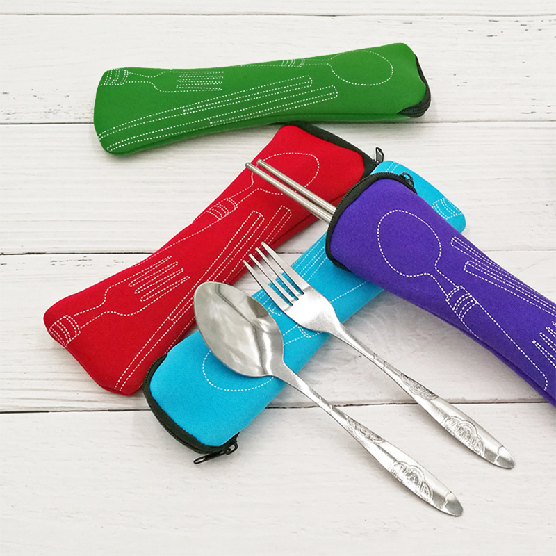 Portable Knife Fork  1Pc New Zipper Travel Cutlery Bag Fashion Chopsticks Pillow Bag 8 Colors Soft Air Cotton