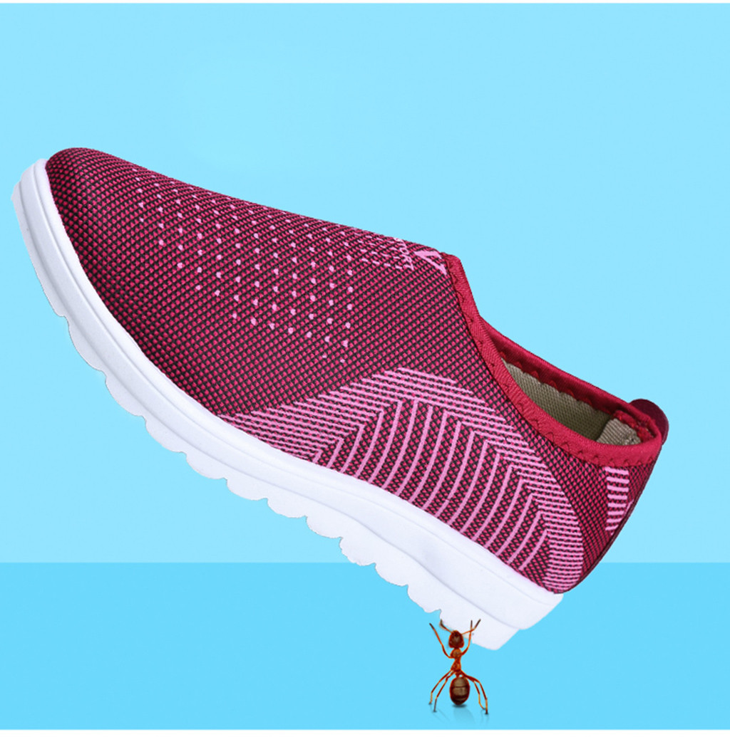 HTB1vDKFainrK1Rjy1Xcq6yeDVXaS MUQGEW Women's Mesh Flat shoes patchwork slip on Cotton Casual shoes for woman Walking Stripe Sneakers Loafers Soft Shoes zapato