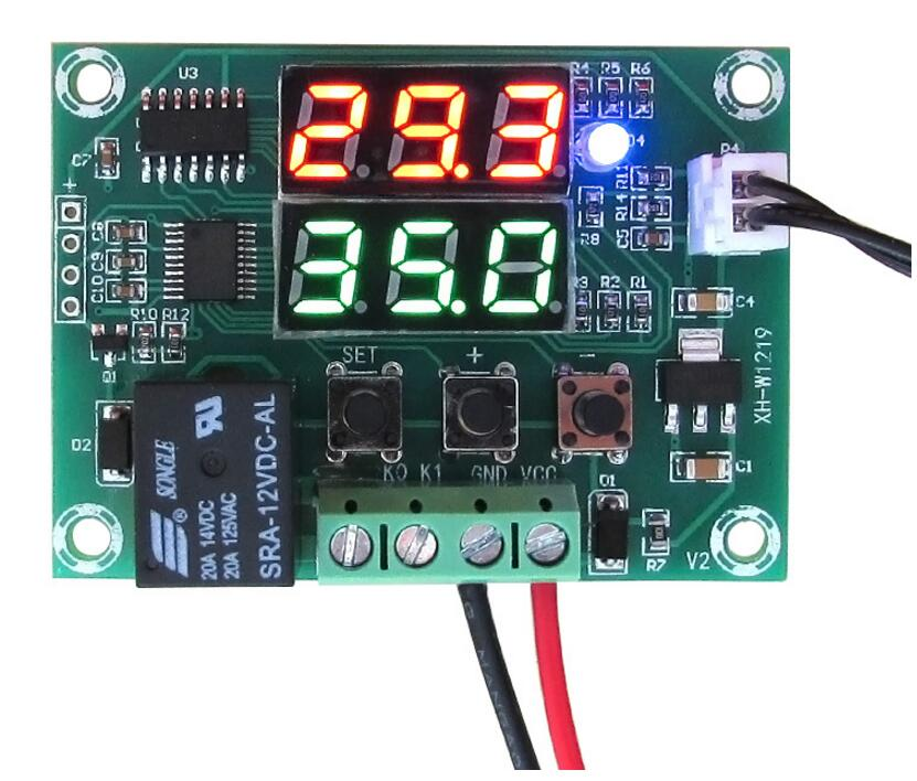 XH-W1219 DC 12V Dual LED Digital Display Thermostat Temperature Controller Regulator Switch Control Relay NTC Sensor Module