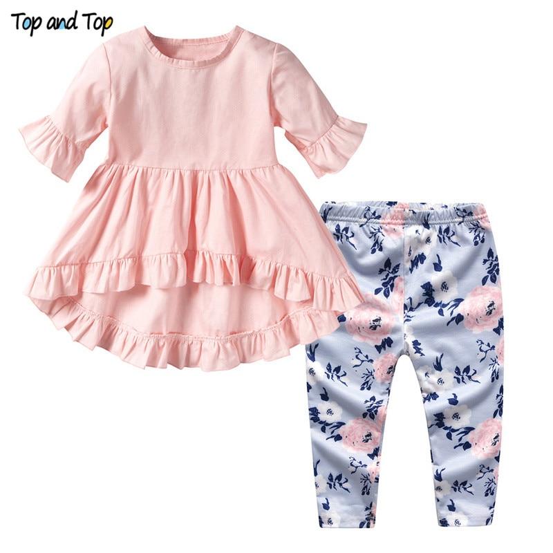 Girl Clothing-Set Tshirt Leggings Short-Sleeve Toddler Fashion Top Cute And 2pcs Print