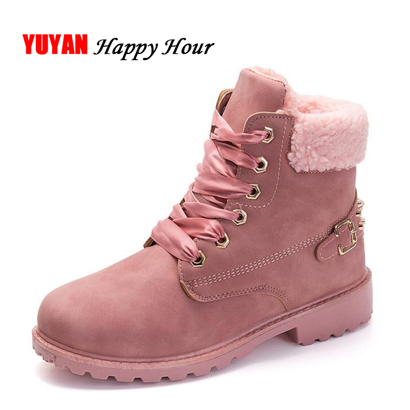 2018 Winter Shoes Women Snow Boots Thick Plush Warm Shoes for Cold Winter Fashion Women's Boots Ladies Ankle Botas Pink ZH2448
