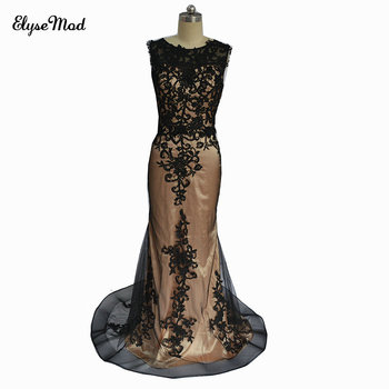Romantic New Design Robe De Soiree Longue Mermaid Scoop Appliques Real Photo Appliques Prom Formal Arabic Evening Gowns Dresses