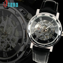 OTOKY orologio sportivo Mens Black Leather Black Dial Skeleton Mechanical Sport Wrist Watch #30 Gift 1pc