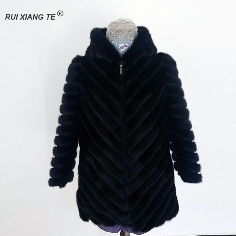 Women Real Fur Coat Mink Fur Coat With Hood Natural Mink Fur Long Sleeves Jacket Small Piece Of Mink Fur Short Coat RuiXiangeTe