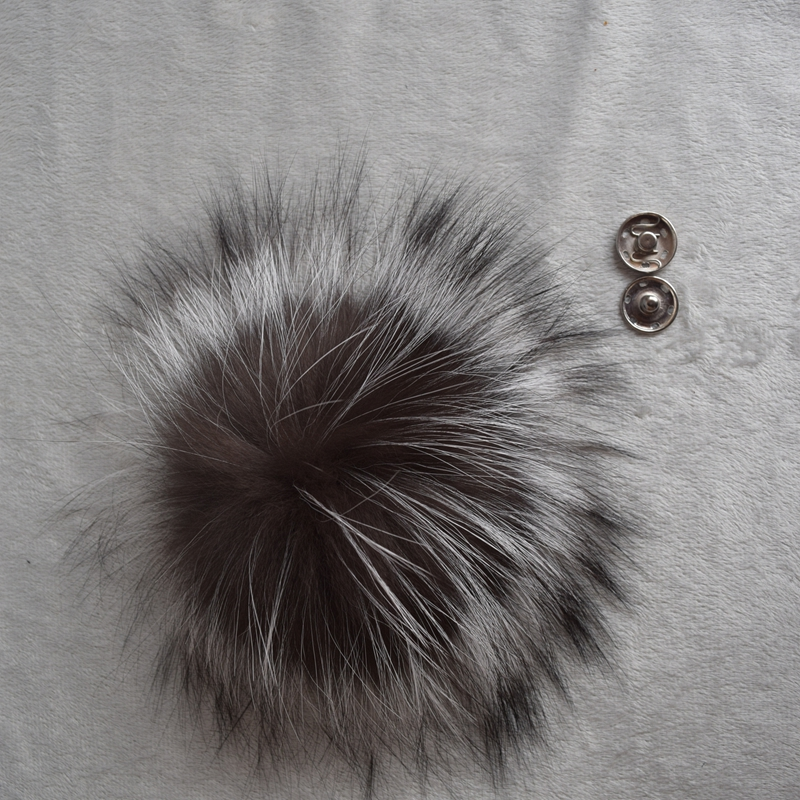 Big Genuine Real Silver Fox Fur Pompom Fur Pom Poms Ball for Hats Caps Accessories Natural