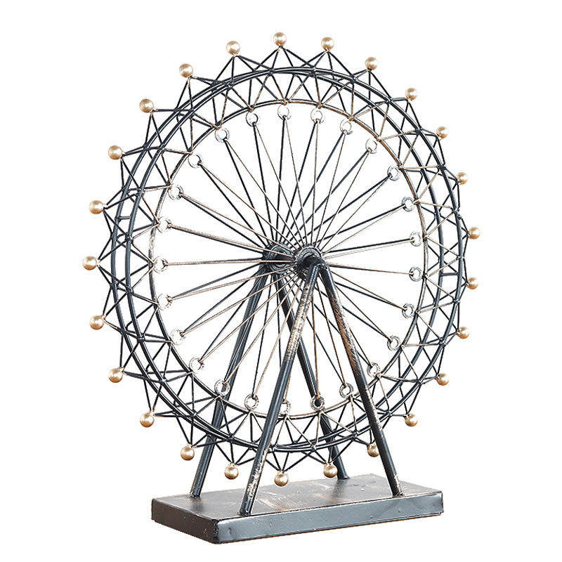 Vintage Metal Ferris Wheel Model Crafts Sky Ferris Wheel Model Home Accessories Desktop Decoration Study Ornaments