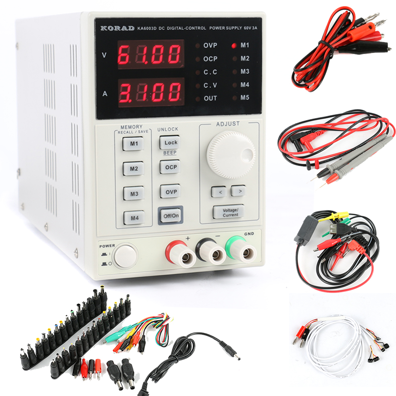 KA6003D Adjustable Digital Programmable DC Power Supply 60V 3A Precision Laboratory Power Supply Phone Repair Kit+DC Jack Set dps3003 adjustable dc digital control power supply 12v24v high power mobile phone maintenance power suites dc depressurization m