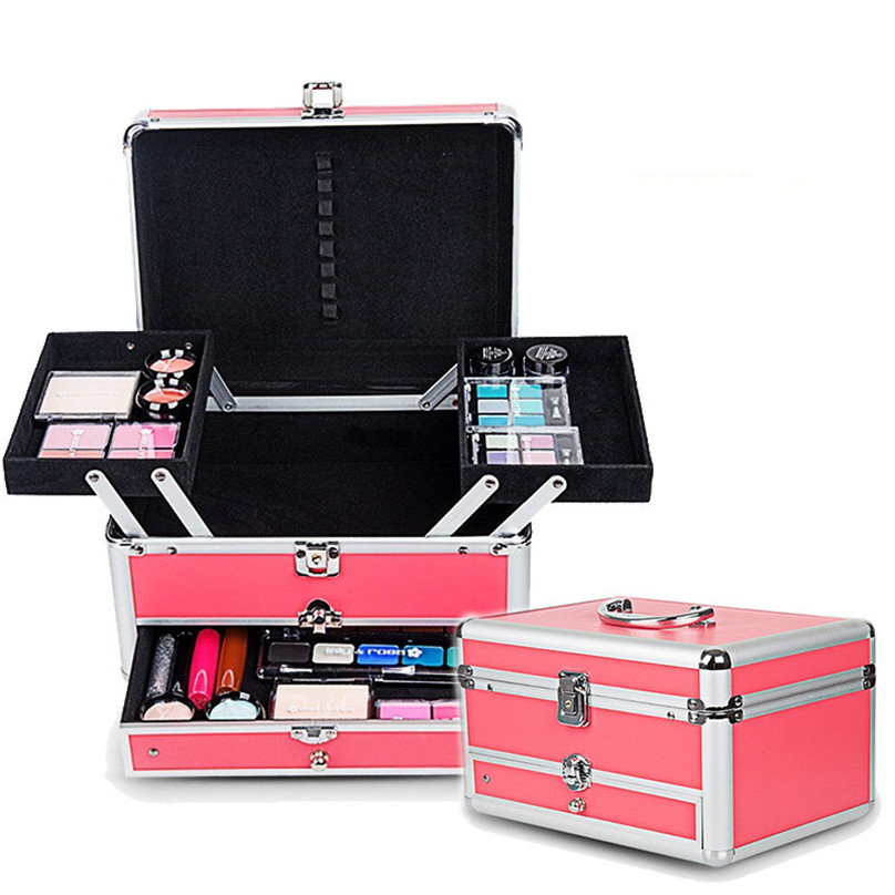2018 Hot professional Aluminium PVC Nail toolbox Make up Box Case Beauty Case Cosmetic Bag Multi Tiers Lockable Jewelry Box gift hot sale professional aluminium alloy make up box makeup case beauty case cosmetic bag multi tiers lockable jewelry box