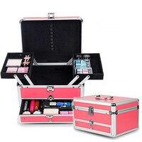 2018 Hot professional Aluminium PVC Nail toolbox Make up Box Case Beauty Case Cosmetic Bag Multi Tiers Lockable Jewelry Box gift