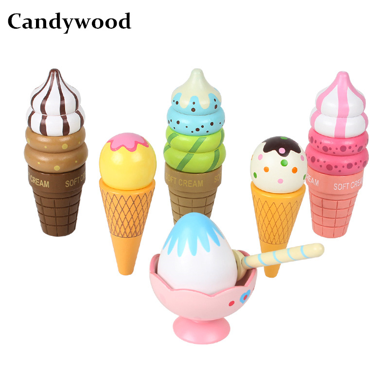 Candywood 2018 6pcs New Hot Summer Mother garden Baby Wooden ice cream set high quality magnet Kitchen Toys for boy girl gifts candywood mother garden baby kids wood kitchen cooking toys wooden kitchenette gas stove educational toys for girl gift