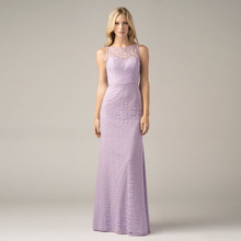 2016 Simple Lilac Lace Charming Bridesmaid Dresses Long Sheath Buttons Back Scalloped Empire Wedding Party Prom Gown R166243