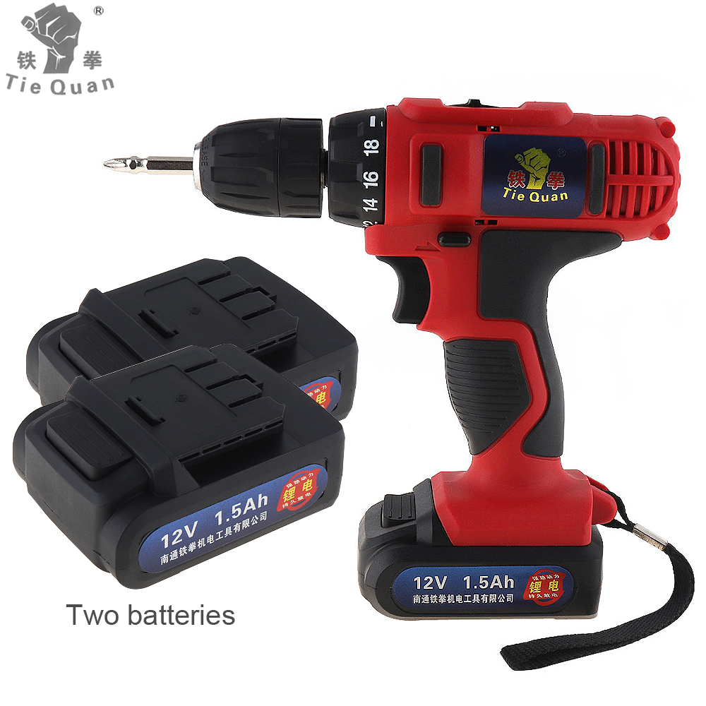 AC 100 - 240V Cordless 12V Electric Drill / Screwdriver with 2 Lithium Batteries and Two-speed Adjustment Button