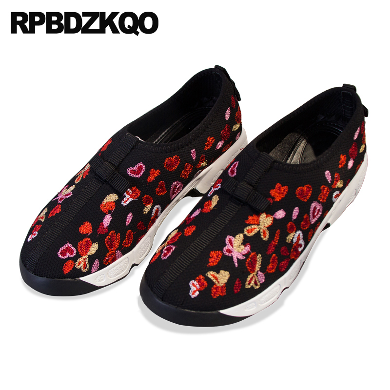 heart thick sole embroidery flats embroidered breathable floral luxury creepers women flower traditional chinese shoes mesh