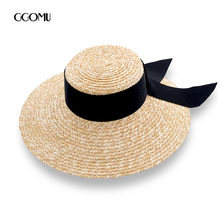 dropshipping Brand Summer straw hat for Women Beach Hat Casual handmade ribbon bowknot Hat Lady Flat-top Sun Hat travel caps