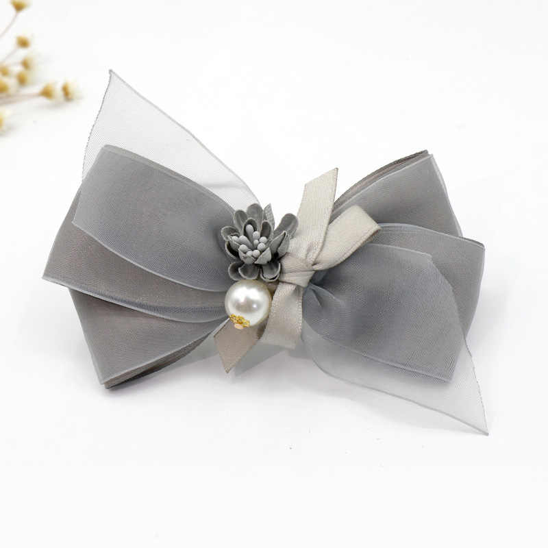 Sweet Pearl Flower Headdress Gray Fabric Bow Hair Clips Hairpin Adult Ponytail Holder Statement Girls Women Jewelry Accessories