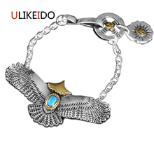 925 Sterling Silver Mens Bracelets Goros Fashion Eagle Punk Hand Chain For Men And Women Special Jewelry Charm 033