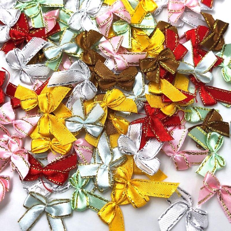 50 шт. атласная мини-лента, цветы с золотыми бантами, подарок, свадебное украшение
