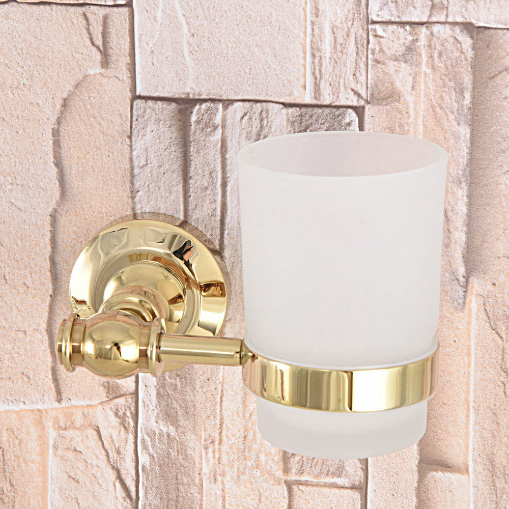 Golden Polished Gold Color Brass Bathroom Bath Tumbler Holder with Single Glass cup Wall Mount aba139