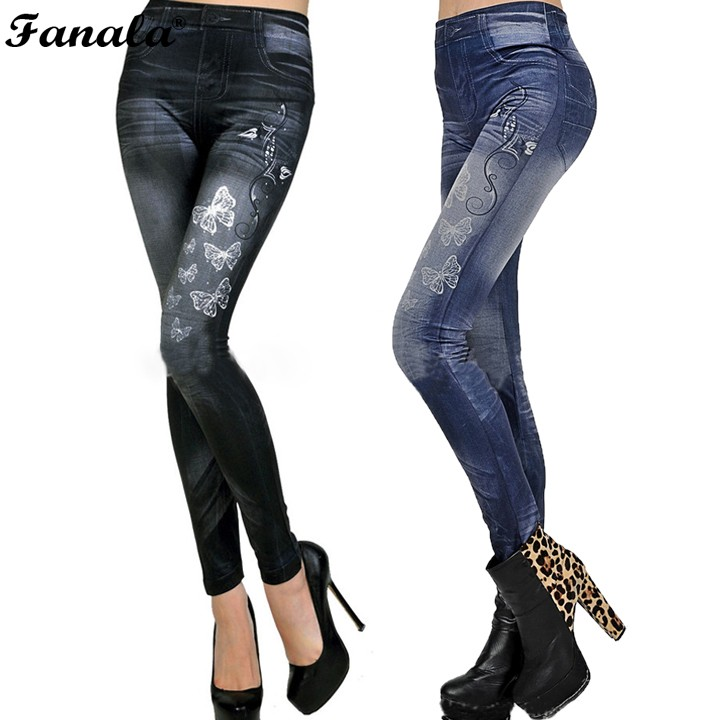 2017 Sexy Jeans Elastic leggings for women Sexy Leggins Print Jeggings Casual Denim Jean Pencil Pants Spring Autumn Trousers#30 2017 spring hole elastic jeans leggings jean trousers denim jeans womens slim skinny pencil pants ripped jeans for women 1407