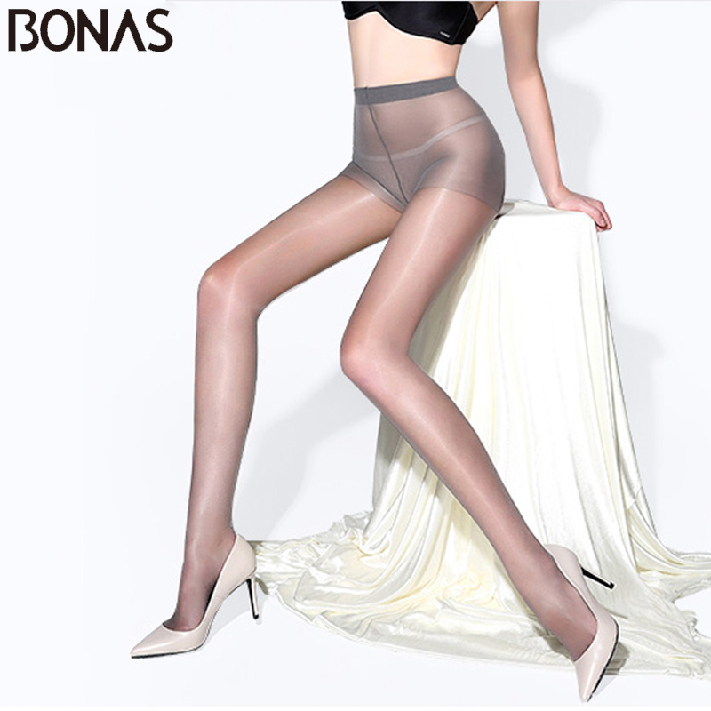 BONAS Women 15D Tights 6PCS Sexy Breathable Pantyhose Lady Summer Nylon Slim Tights Female Transparent Sun Protection Stockings