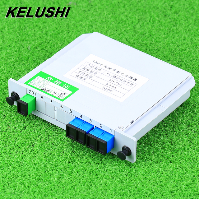 KELUSHI SC/UPC 1x4 מודול PLC סיבים אופטי ספליטר SC מחבר PLC ספליטר תיבת אופטי הסתעפות מכשיר