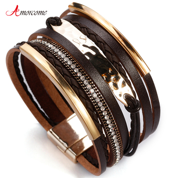 Amorcome Metal Bar Charm Leather Bracelets For Women Trendy Boho Braided Rope Wide Multilayer Wrap Bracelet Female Jewelry amorcome metal feather genuine leather bracelet for women jewelry fashion multilayer bohemian charm wide bracelets