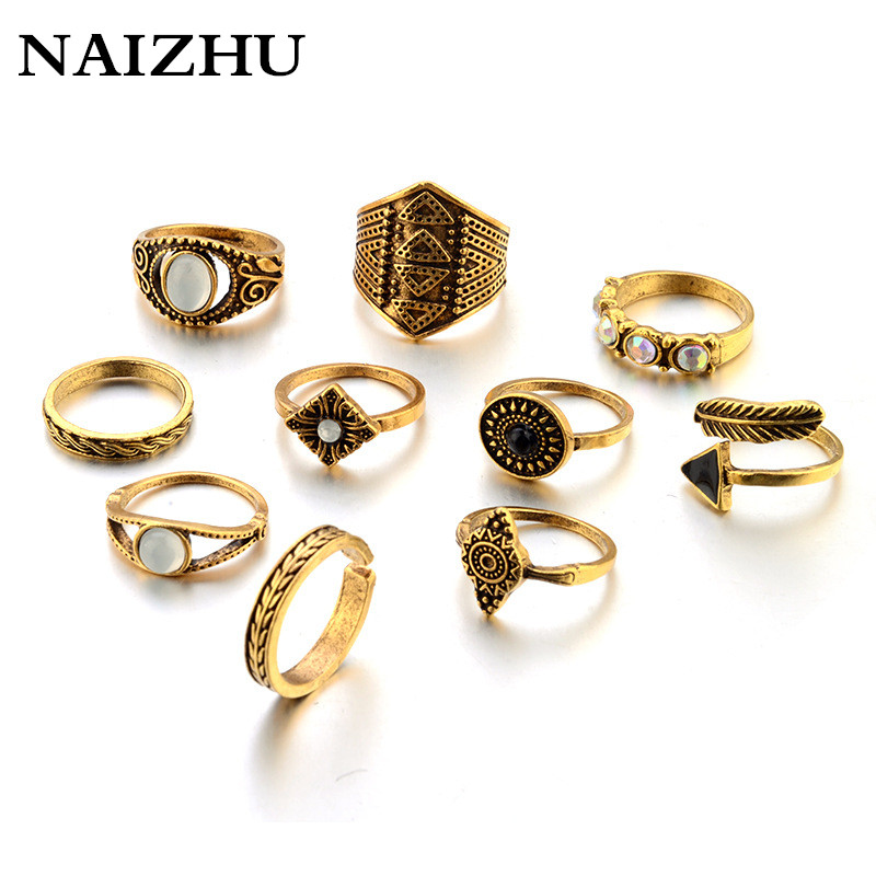 10pcs/Set Boho Vintage Punk Antique Geometr Carved Crystal Midi Finger Rings For Women Bohemian Knuckle Ring Set Jewelry Anillos