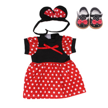 18 inch Girls doll dress Mouse princess print gown with shoes American new born skirt Baby toys fit 43 cm baby dolls c438 fits pandora charms bracelets christmas gloves beads 100