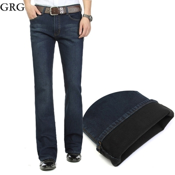Free Shipping High Quality Men Winter Worm Fleece Blue Boot Cut Jeans Business Casual Flare Pants Mid Waist velvet Trousers