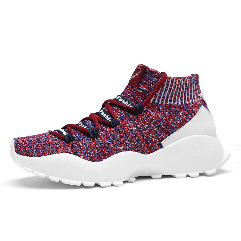 Nouveau Style chaussures de course à semelle épaisse pour hommes hauteur augmentant les hommes en plein air chaussures haute cheville chaussette chaussures de Sport mode hommes formateurs