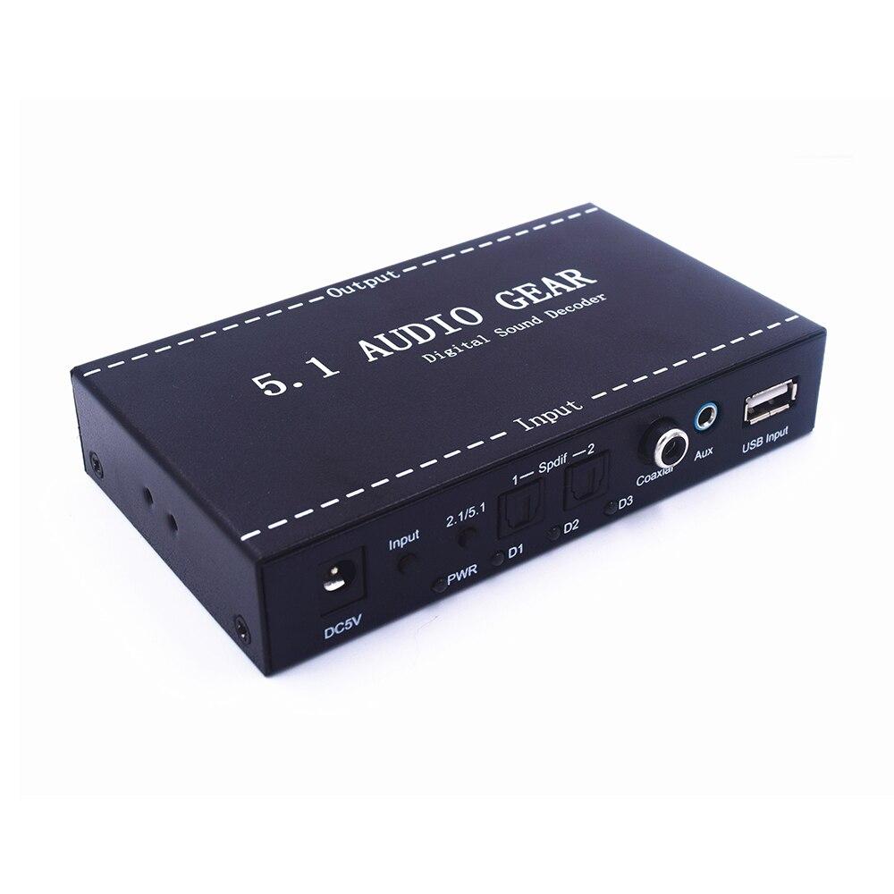 Новый 5,1 аудио Шестерни цифровой аудио декодер DTS AC3 цифровой аудио Аналоговый 5,1 аудио или стерео звук конвертер с Spdif коаксиальный