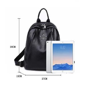 Image 4 - Popular Joker Female Backpack Casual Shopping Women Bag Fashion Soft Pu Leather Student Bagpack Classic Black Design Lithe
