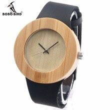 Bobo bird projeto do vintage das mulheres marca de luxo relógio de quartzo de couro relógios ladies watch com o real de madeira de bambu na caixa de presente