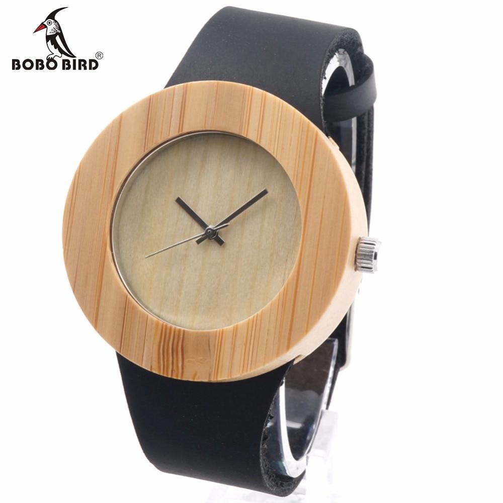 Prix pour Bobo bird conception de cru des femmes marque de luxe en bois bambou montres dames montre avec réel en cuir quartz montre en boîte-cadeau