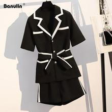 Banulin Work Ol Suit Female Blazer And Pants Set Coat V Neck Sexy Chic Women Office 2 Pieces Outfits