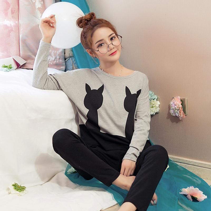 Spring And Autumn Women Long-sleeved Pants Pajamas Korean Cute Cartoon Bottom Black Cat Loose Girls Home Sleep Suits