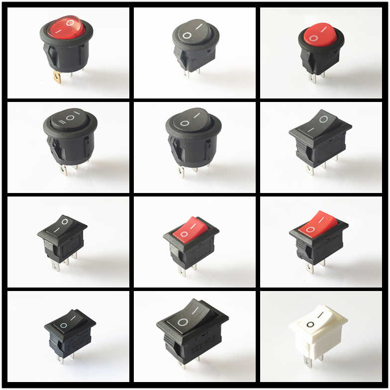 SPST KCD1 2PIN 3PIN On/Off Bulat/Square Perahu Rocker Switch DC AC 6A/250 V Mobil dash Dashboard Plastik Tombol Dropshipping