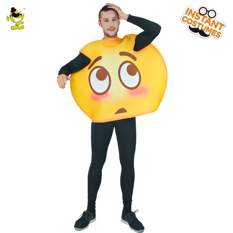 New Arrival Emoji Oops Costume Adult Unisex Fun Emoticon Costumes For Halloween Carnival Party Emotion Role Play Jumpsuit